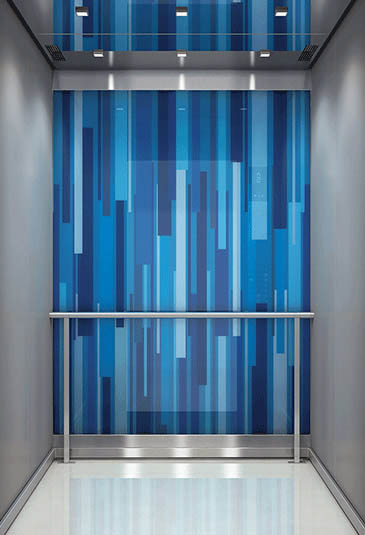 KONE MiniSpace ™ elevator with Nouveau Glamour style blue interior